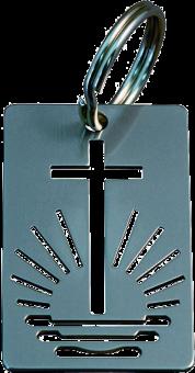Schlüsselanhänger mit Kirchenemblem Emblem ausgestanzt, Edelstahl