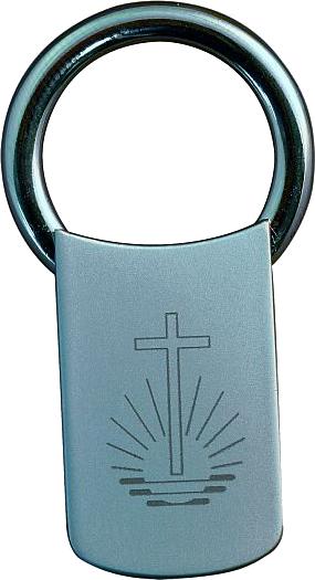 Schlüsselanhänger mit Kirchenemblem Lasergravur, Metall mattsilber