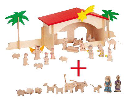 Weihnachtskrippe, Set Krippe und Ergänzung Bauernhof