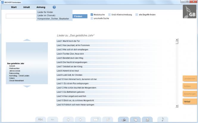 Liedkonkordanz zum Gesangbuch (Software-Modul)